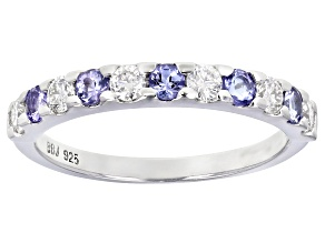 Moissanite and Tanzanite Platineve Ring .30ctw DEW.