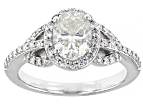 Moissanite platineve ring 1.96ctw DEW.