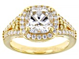 Moissanite and yellow diamond 14k yellow gold over silver ring 2.84ctw DEW.