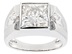 Moissanite Platineve Mens Ring 5.10ctw DEW.