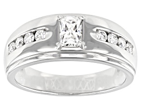 Moissanite Platineve Mens Ring 1.10ctw DEW.