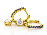Moissanite and blue sapphire 14k yellow gold over silver hoop earrings 1.60ctw DEW.