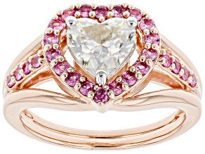 Moissanite and pink sapphire 14k rose gold over silver ring 1.20ct DEW.