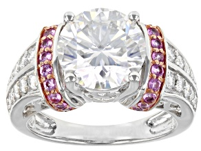 Moissanite And Pink Sapphire Platineve And 14k Rose Gold Accent Settings Ring 4.12ctw Dew