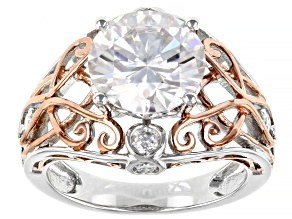 Moissanite Platineve Two Tone Ring 3.92ctw Dew