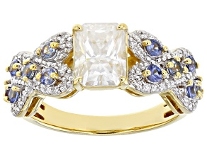 Moissanite and blue sapphire 14k yellow gold over silver ring 2.38ctw DEW.