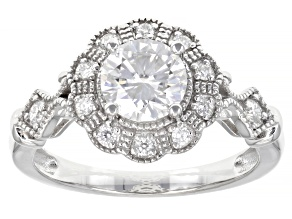 Moissanite Platineve Engagement Ring 1.16ctw DEW.
