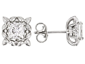 Moissanite Platineve stud earrings with interchangeable jackets 1.60ctw DEW