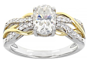 Moissanite Platineve And 14k Yellow Gold Over Platineve Two-Tone Ring 1.76ctw DEW