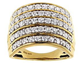 Moissanite 14k Yellow Gold Over Silver Ring 1.59ctw DEW.