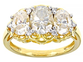 Moissanite 14k yellow gold over sterling silver ring 3.42ctw DEW.