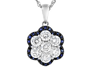 Moissanite and blue sapphire platineve pendant 1.61ctw DEW.
