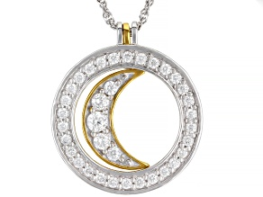 Moissanite platineve and 14k yellow gold over silver pendant .88ctw DEW.