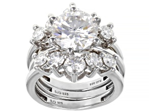 Moissanite Platineve Ring With Two Bands 5.82ctw DEW.