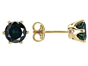 Dark Green Moissanite 14k yellow gold over sterling silver stud earrings 2.00ctw DEW.