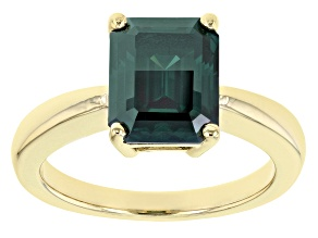 Green Moissanite 14k yellow gold over sterling silver ring 3.55ct DEW.