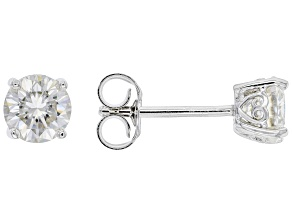 Moissanite Platineve Stud Earrings 1.20ctw D.E.W