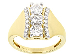 Moissanite 14k Yellow Gold Over Silver Ring 1.27ctw DEW