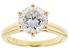 Moissanite Inferno cut 14k yellow gold over sterling silver ring 3.08ct DEW.