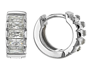Moissanite Platineve Hoop Earrings .90ctw DEW.