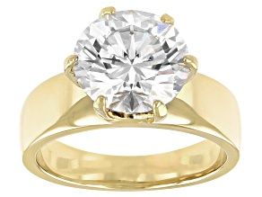 Moissanite 14k Yellow Gold Over Silver Solitaire Ring 4.20ct DEW