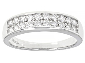 Moissanite Platineve Band Ring .60ctw DEW