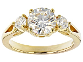 Moissanite 14k Yellow Gold Over Silver Three Stone Ring 1.82ctw DEW