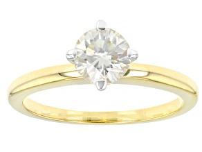 Candlelight Moissanite 14k Yellow Gold Over Silver Solitaire Ring .80ct DEW.