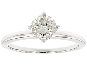 Moissanite Platineve Solitaire Ring .80ct DEW.
