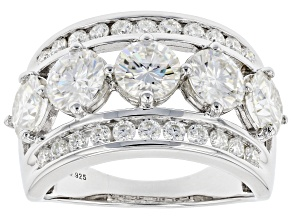 Moissanite Platineve Wide Band Ring 3.66ctw DEW.