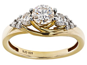 Moissanite 14k Yellow Gold Over Silver Ring 1.04ctw DEW.