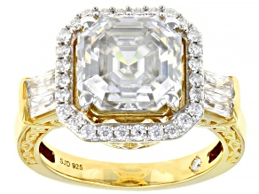 Moissanite 14k yellow gold over sterling silver engagement ring 5.29ctw DEW.