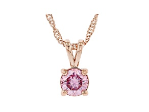 Pink moissanite 14k rose gold over silver solitaire pendant .80ct DEW.