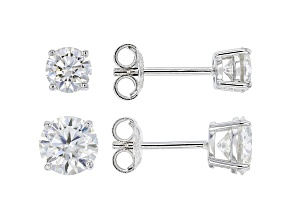 Moissanite platineve(R) set of 2 pair stud earrings, 1ctw pair and a 2ctw pair 3.00ctw DEW