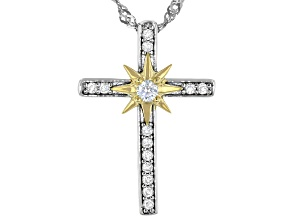 Moissanite platineve and 14k yellow gold over sterling silver cross pendant .18ctw DEW.