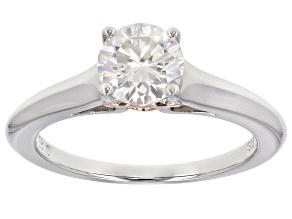 Moissanite platineve and 14k rose gold over sterling silver solitaire ring 1.00ct DEW.