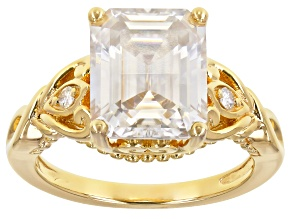 Moissanite 14k yellow gold over sterling silver ring 4.99ctw DEW
