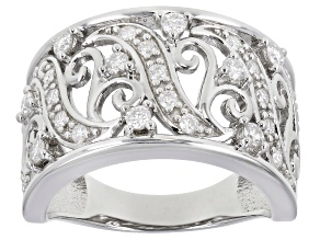Moissanite platineve wide band ring .63ctw DEW