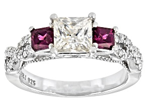 Moissanite and grape color garnet platineve engagement ring 1.50ctw DEW
