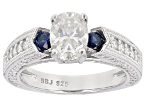 Moissanite and blue sapphire platineve engagement ring 2.26ctw DEW
