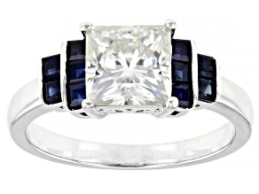 Moissanite and blue sapphire platineve engagement ring 2.10ct DEW
