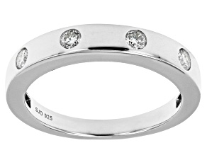 Moissanite platineve band ring .24ctw DEW