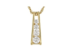 Moissanite 14k yellow gold over sterling silver pendant .55ctw DEW