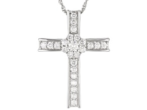 Moissanite platineve cross pendant .88ctw DEW