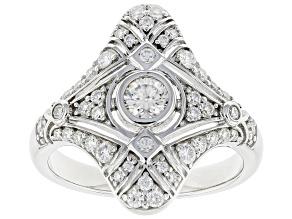 Moissanite platineve vintage style ring .95ctw DEW