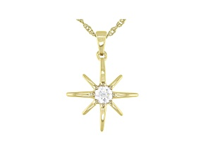 Moissanite 14k yellow gold over sterling silver star pendant .23ct DEW.