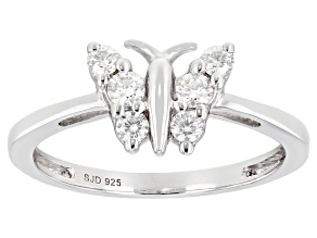Moissanite platineve butterfly ring .28ctw DEW