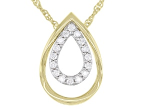Moissanite platineve and 14k yellow gold over silver interchangeable teardrop pendant .16ctw DEW.