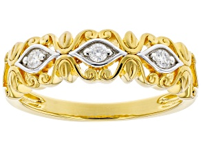 Moissanite 14k yellow gold over sterling silver band ring .09ctw DEW
