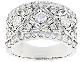 Moissanite platineve wide band ring 1.56ctw DEW